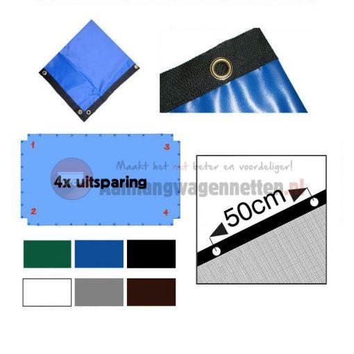 Waterdicht PVC afdekzeil 4 uitsparingen op maat gemaakt
